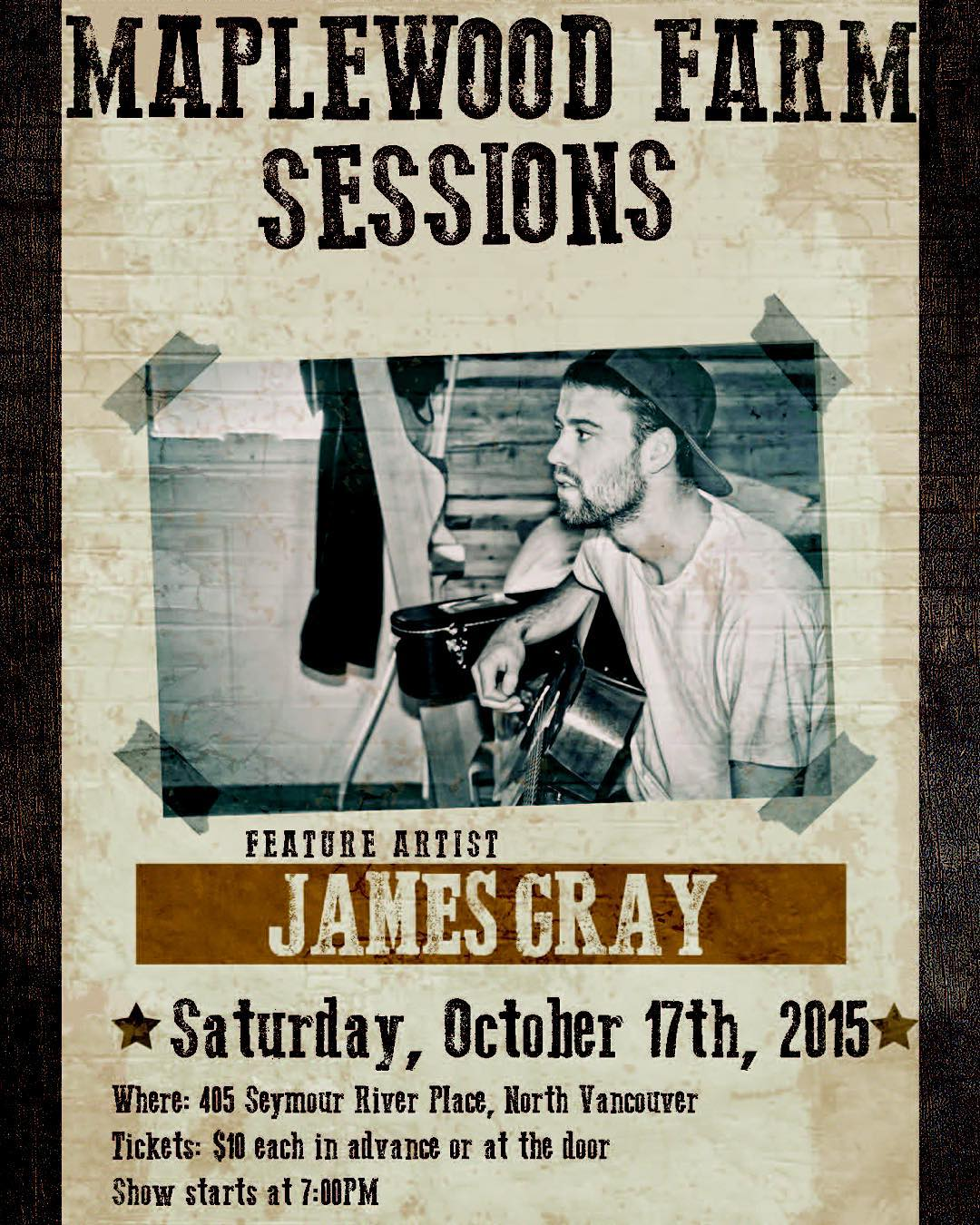"""Instagram: ⭐️TONIGHT!⭐️ Join us for some #livemusic at the Farm! Tickets are $10 at the door.  A singer/ songwriter from Muskoka,Ontario,  Gray has just returned from an extensive tour throughout Canada and Switzerland to promote his sophomore album """"Bigger Things"""". Most notably, James was the musical guest at the TED talks held on the west coast of Canada and most recently his songs have received various plays on CBC radio 1 programs,including Ontario Morning with Wei Chen. #northvancouver #maplewoodfarm #tedtalks #cbc #radio1 #acoustic #westcoasttour2015 #indie #northshore #events #tonight"""