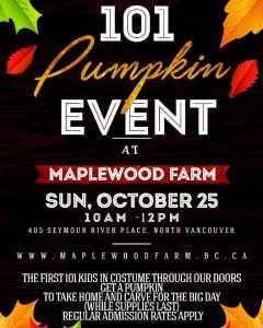 Instagram: 101 Pumpkin Event: Sunday October 25 from 10-12 the first 101 kids in costume get a free pumpkin! 🍅🍅🍅🍅🍅 #maplewoodfarm #halloween