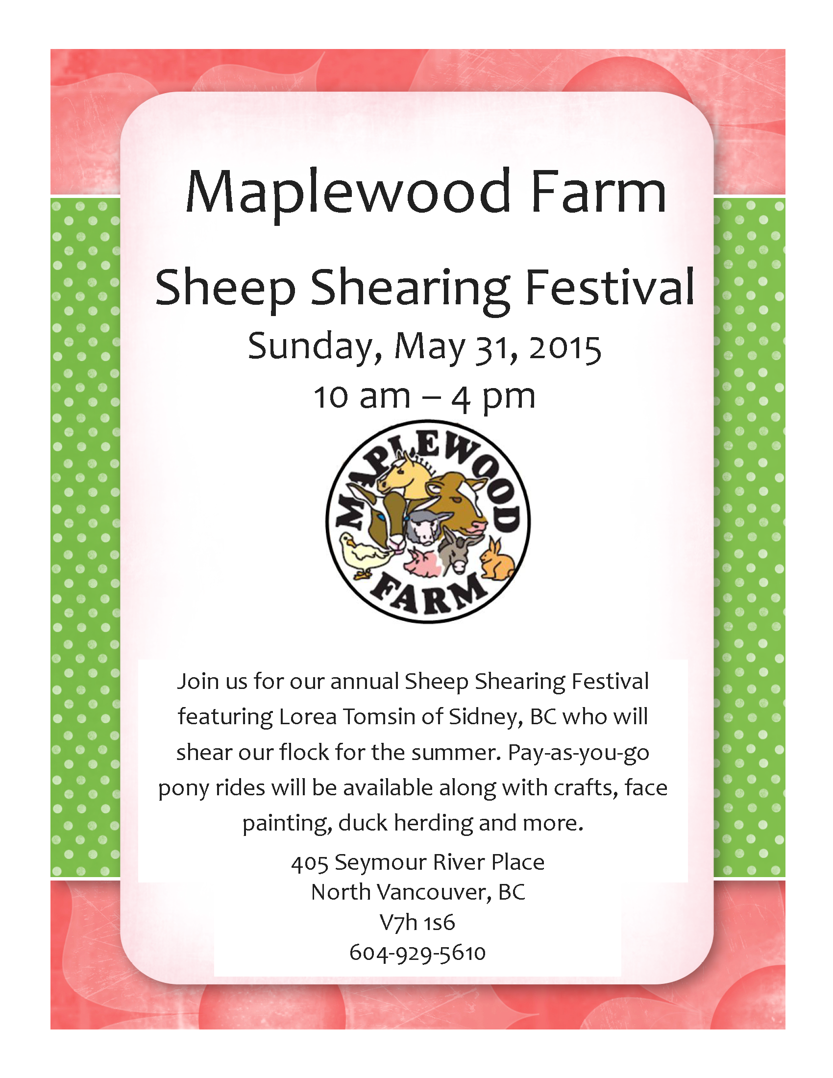 Sheep Shearing event flyer 2015
