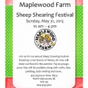 This coming weekend! It's time for our annual Sheep Shearing Festival! Special event rates apply- $8.85 for adults and $5.75 for children and seniors. No reservations required, just come on down