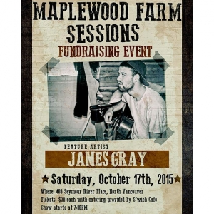 Instagram: Join us at Maplewood Farm for our first-ever Maplewood Farm Session. The evening's acoustic entertainment will be provided by James Gray, a folk-country artist hailing from Muskoka, Central Ontario. Also joining us are Bea and Kayla, students of the Vancouver Institute of Media Arts showcasing original art for sale. This fundraising event will be catered by local favourite S'wich Café. In addition, we will be holding a 50/50 draw and James will be selling his albums (cash only). This is a limited seating engagement; get your ticket in advance. Tickets are available in person or over the phone at Maplewood Farm- 604-985-3276 or email info@maplewoodfarm.bc.caDate: Saturday, October 17th, 2015Time: 7:00PM- 9:00PMTickets: $30.00 each (18+ event)Contact: 604-985-3276 or info@maplewoodfarm.bc.ca Thank you for your continued support of Maplewood Farm! #maplewoodfarm #northvancouver #acoustic #fundraiser