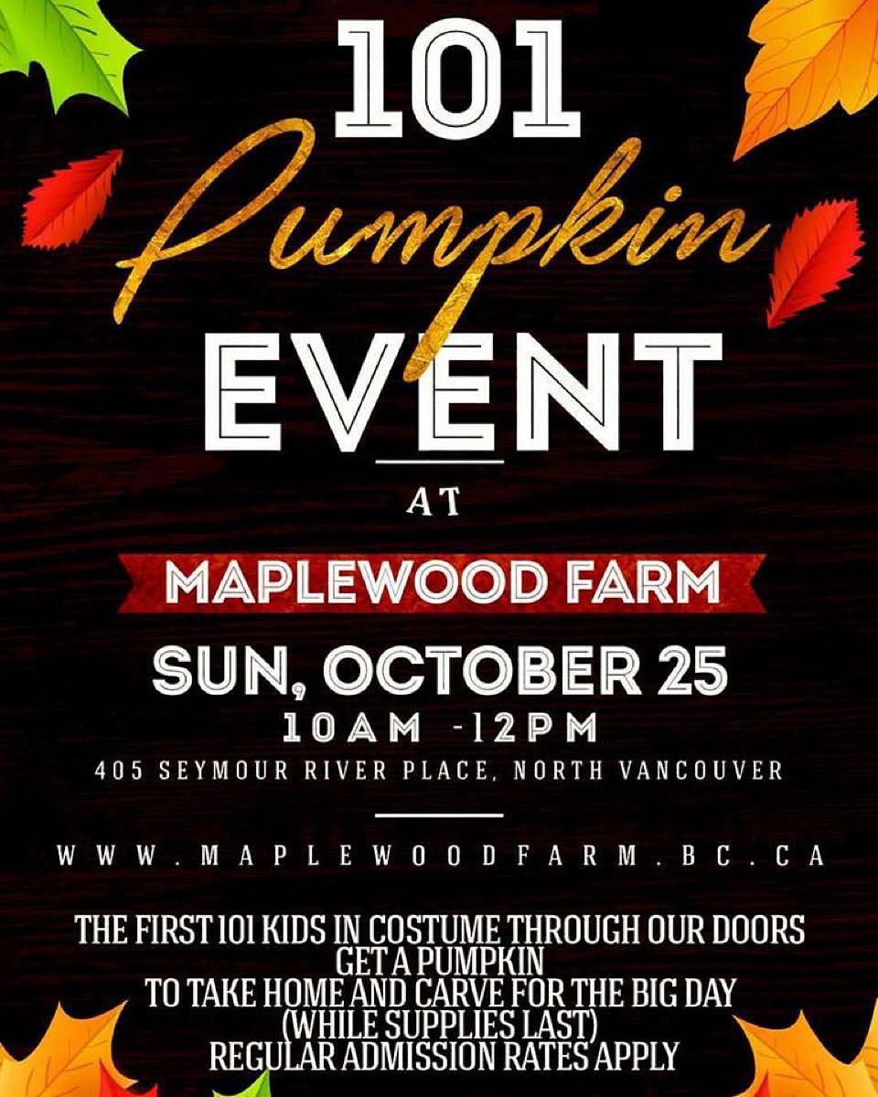 Instagram: 101 Pumpkin Event: Sunday October 25 from 10-12 the first 101 kids in costume get a free pumpkin! ????? #maplewoodfarm #halloween